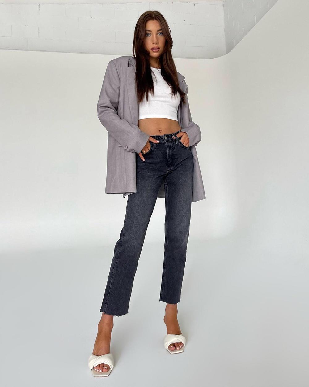 TOPSHOP Washed Raw Hem Straight Leg Jeans High-Waisted Light Black Australia