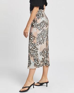 Glamorous Midi Slip Skirt - Skirts (Peach Mint Leopard)