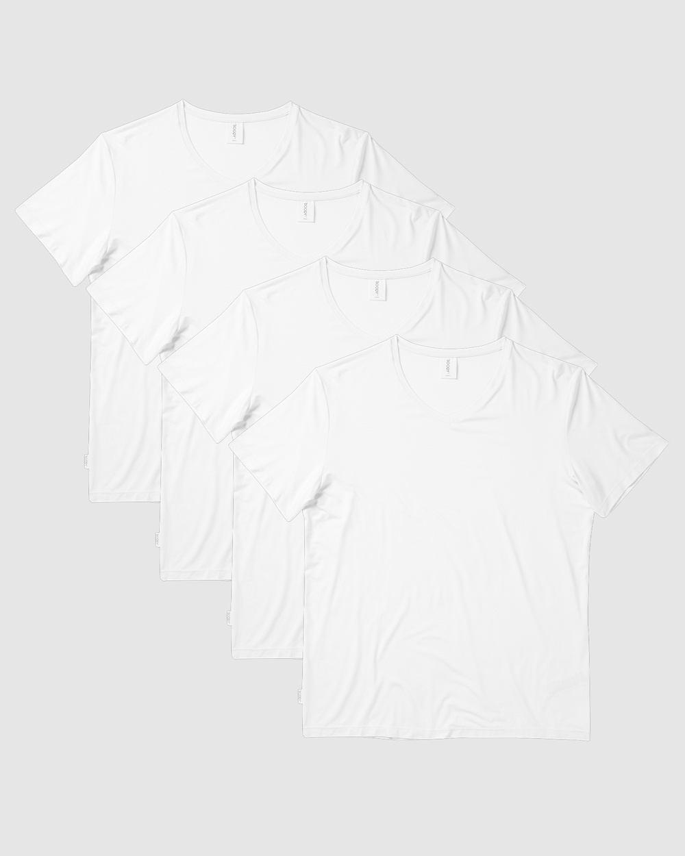 Boody Organic Bamboo Eco Wear - 4 Pack V Neck T Shirt - Short Sleeve T-Shirts (White) 4 Pack V-Neck T-Shirt