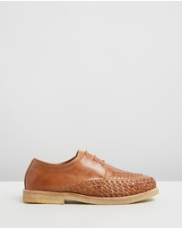 Double Oak Mills - Ainslie Woven Leather Lace-Up Shoes