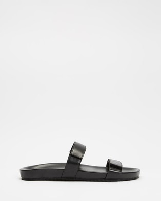 AERE - Two Strap Velcro Leather Sandals Casual Shoes (Black)
