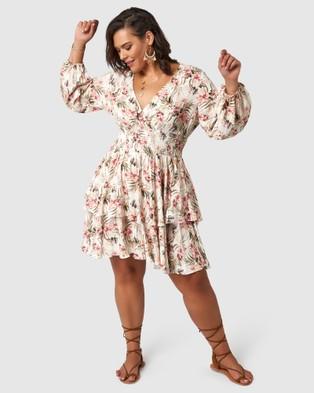 The Poetic Gypsy Sundancer Midi Dress - Printed Dresses (neutrals)