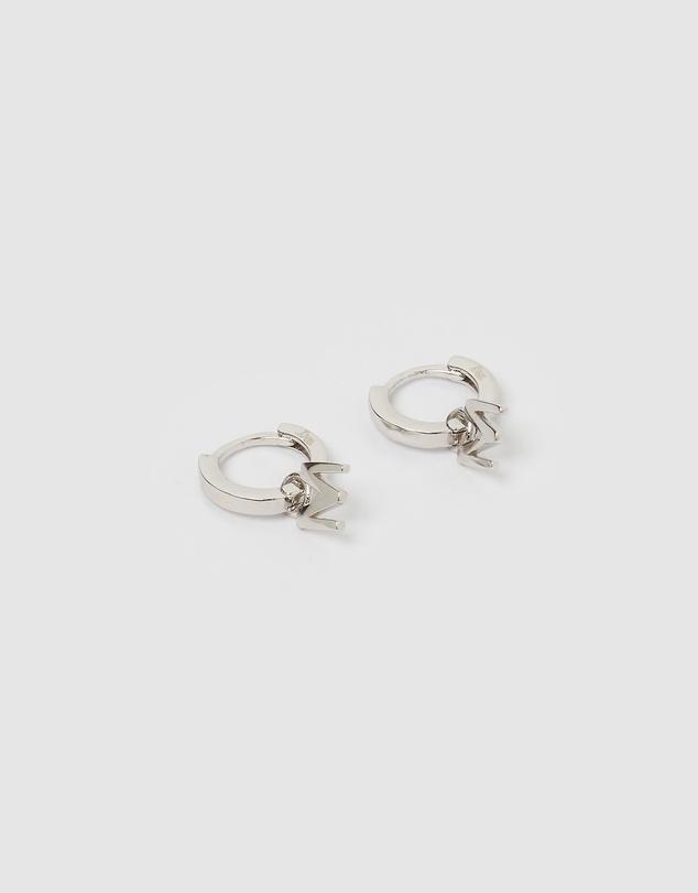 Women Alphabet Letter M Huggie Earrings
