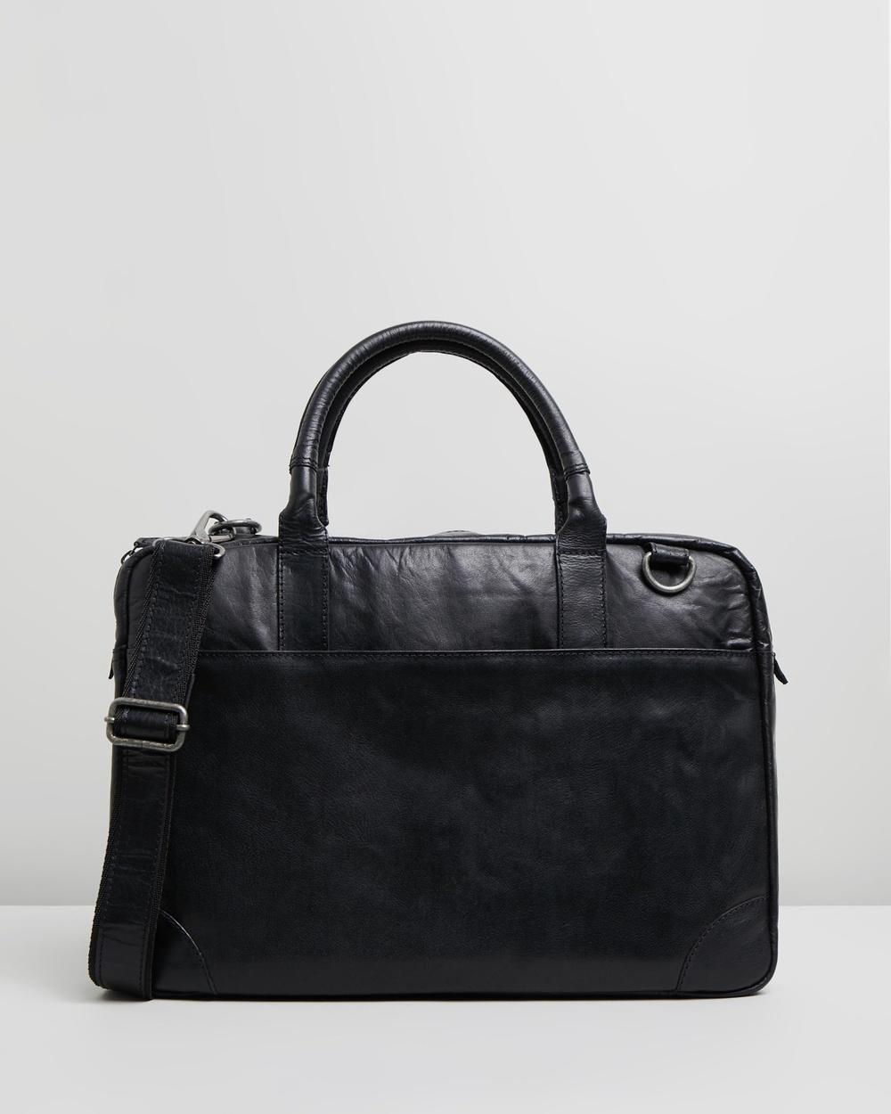 Double Oak Mills Harry Leather Briefcase Bags Black
