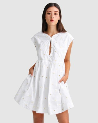 Belle & Bloom Baby Doll Embroidered Dress - Dresses (White)