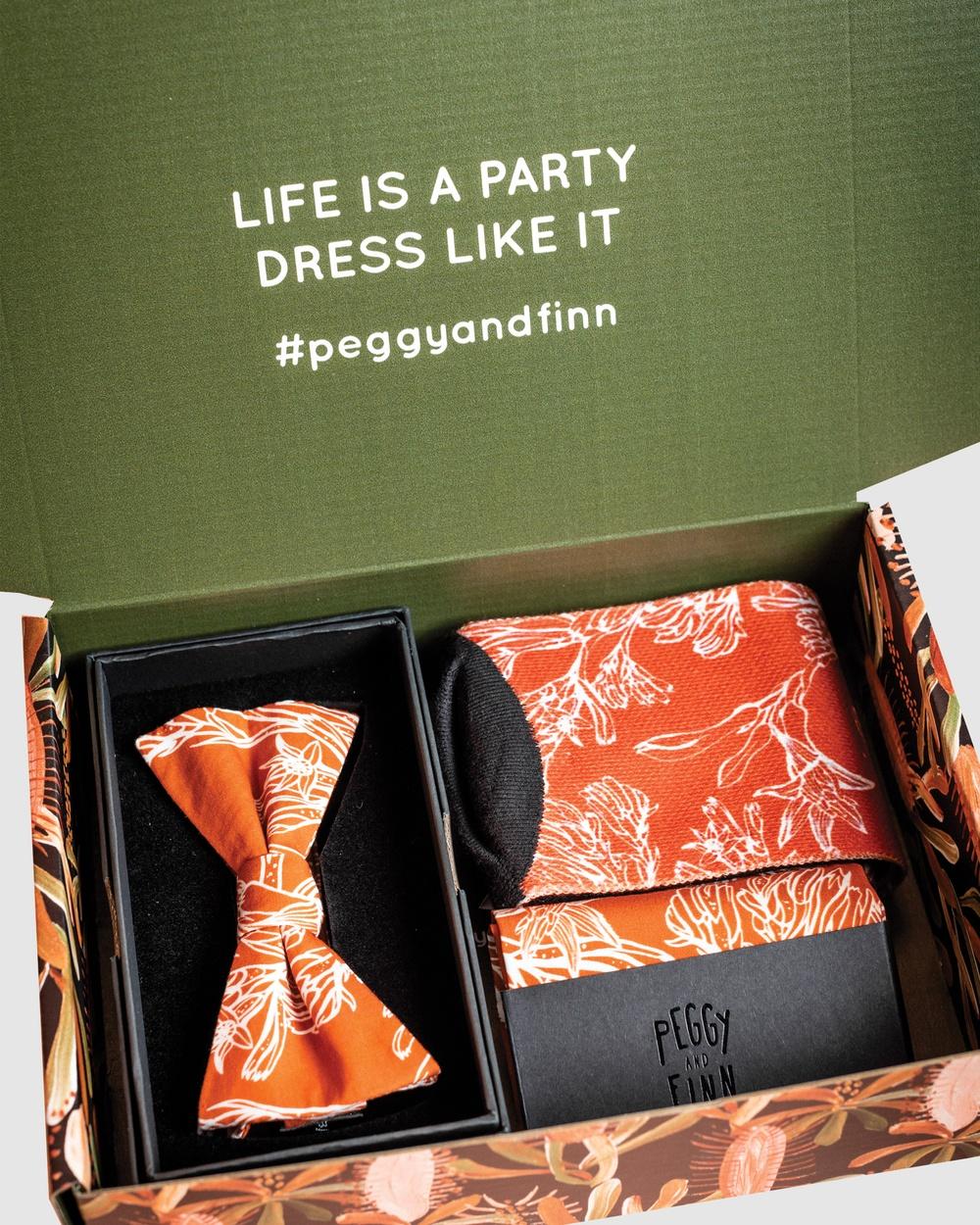 Peggy and Finn Kangaroo Paw Bow Tie Gift Box Ties & Cufflinks Orange Australia