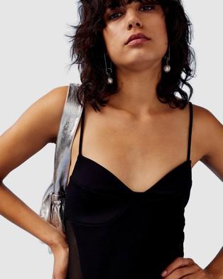 TOPSHOP Ponte Mesh Bodysuit - Tops (Black)