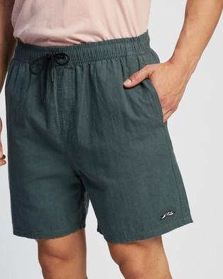 Rusty Undertone Elastic Linen Shorts - Shorts (Blue Coral)