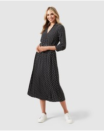 French Connection - Spot Midi Pleated Dress
