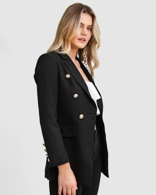 Belle & Bloom Princess Polina Textured Weave Blazer - Blazers (Black)