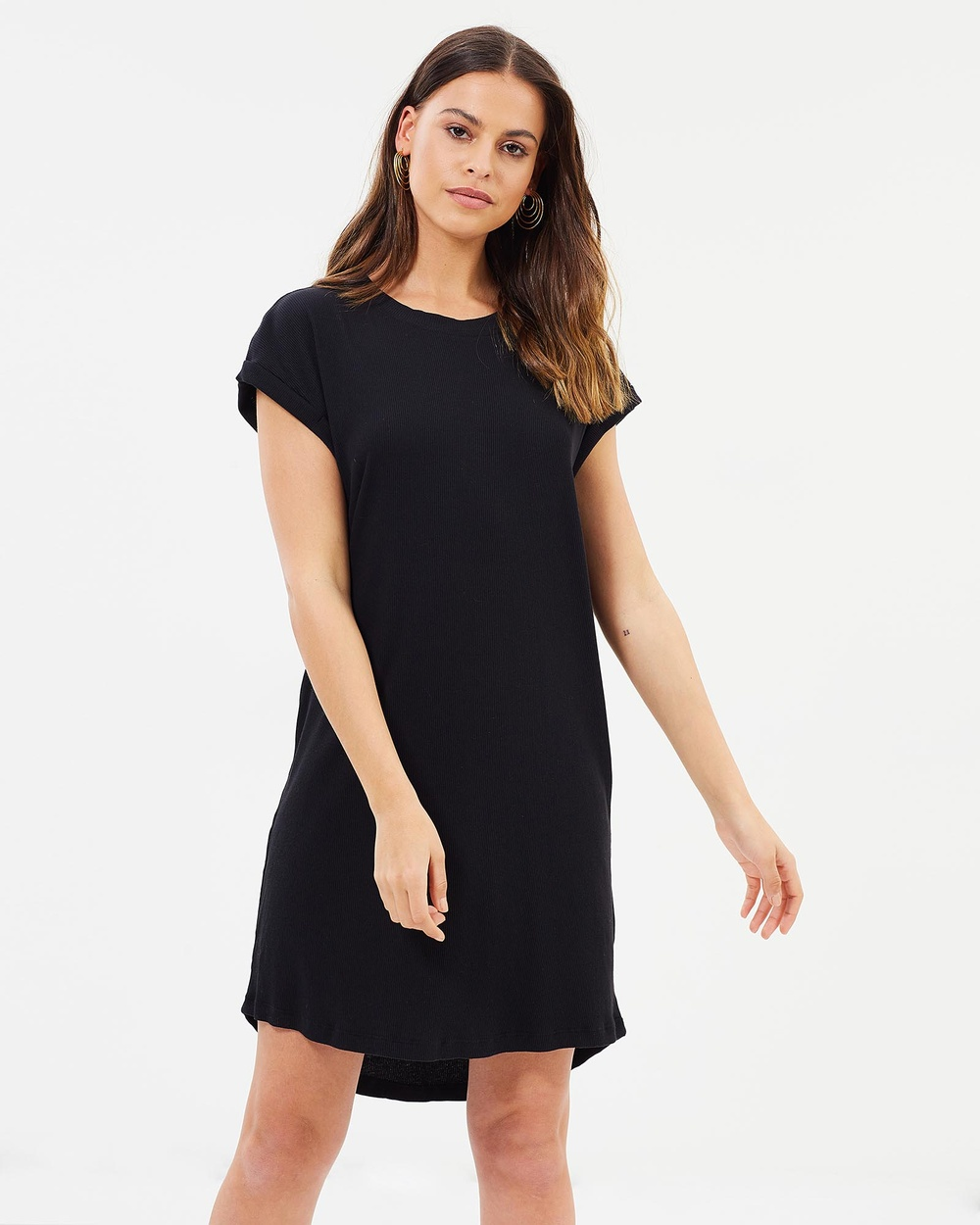 Rusty Windfall Rib Tee Dress Dresses Black Windfall Rib Tee Dress