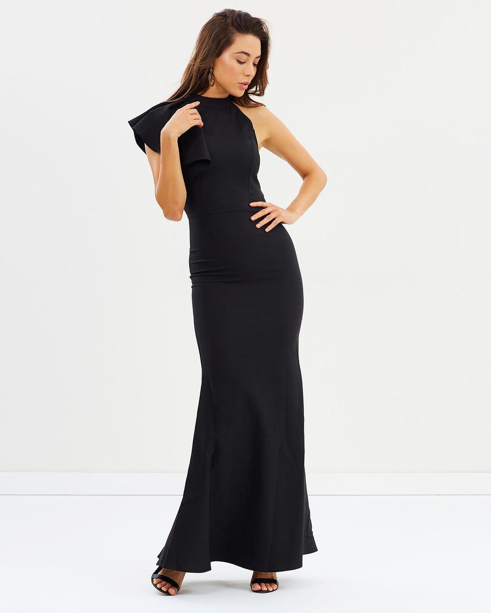 ROXCIIS Black Nora Flounce Shoulder Gown