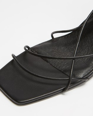 AERE Strappy Ankle Tie Leather Heels - Mid-low heels (Black Leather)