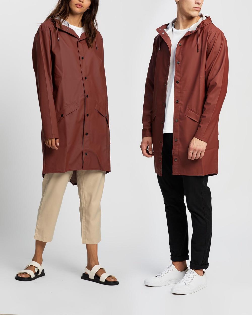 RAINS Long Jacket Coats & Jackets Maroon