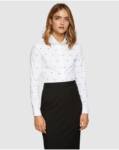Oxford Angel Stretch Dog Print Shirt White/black