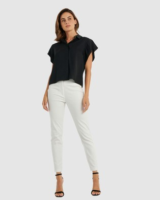 Forcast Lani Butterfly Sleeve Top - Shirts & Polos (Black)