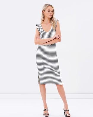 Atmos & Here – Finnie Frill Rib Dress – Bodycon Dresses (Stripe)