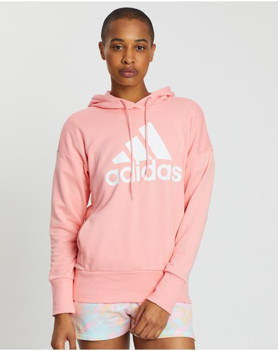 Adidas Performance Badge Of Sport Long Hoodie Glory Pink & White