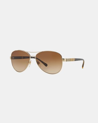 Burberry Burberry Heritage   Gold Canvas Check - Sunglasses (Gold & Brown Gradient)