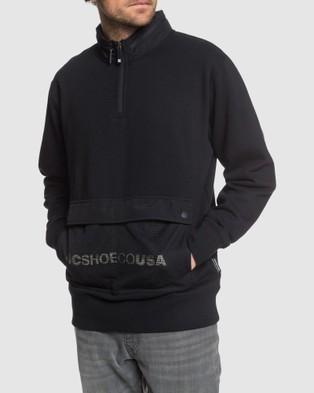 DC Shoes Mens Crownpoint Half Zip Hoodie - Hoodies (Black)