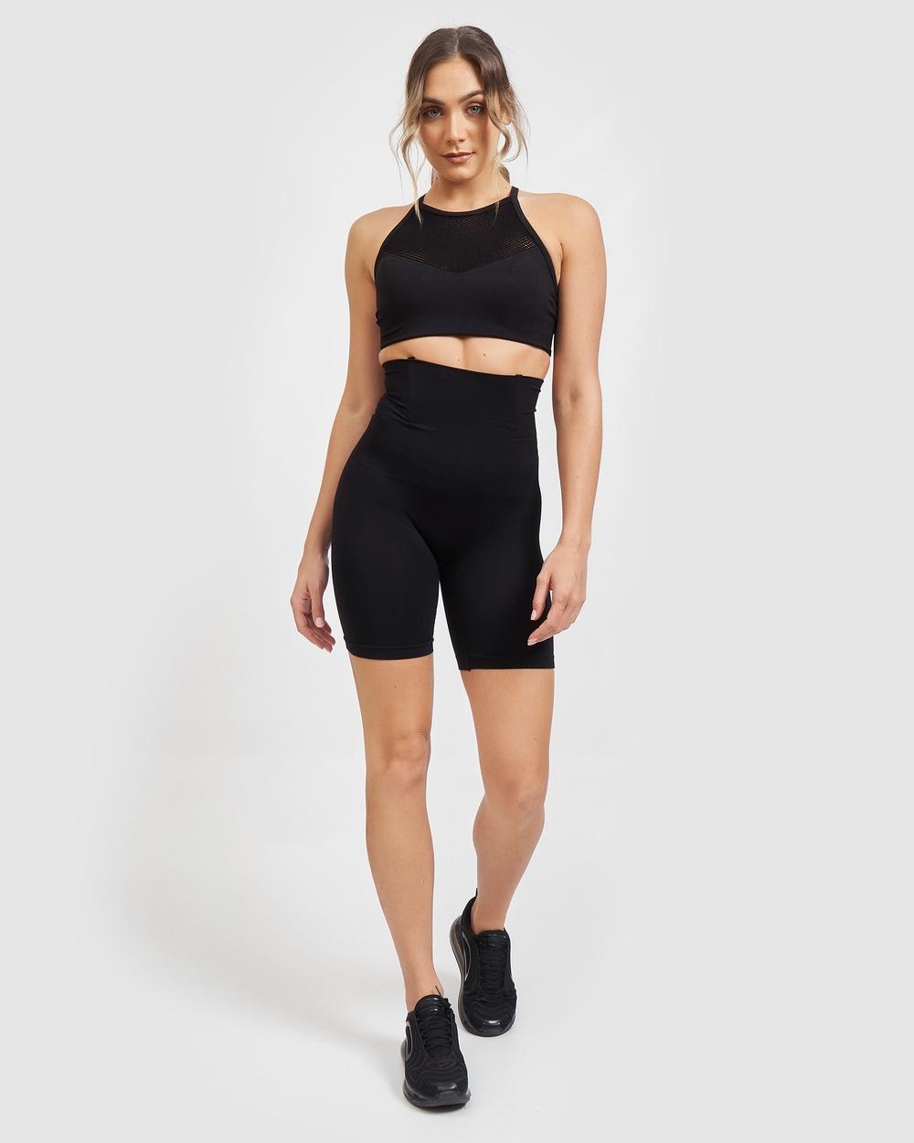 Core Trainer High Waisted Shape Wear Midi Shorts Lingerie Black Australia