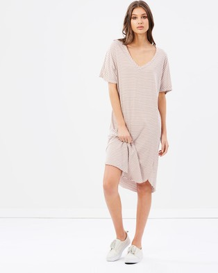 Primness – Striped Tee Dress Brown
