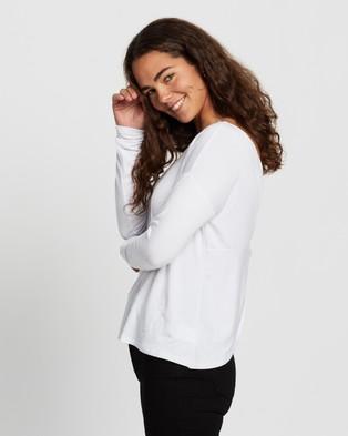 Atmos&Here - Chloe Cross Back Long Sleeve Tee T-Shirts & Singlets (White)