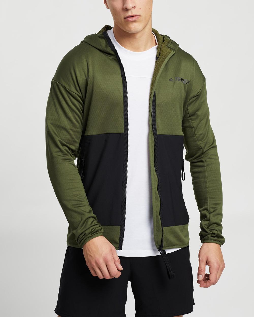 adidas Performance Terrex Tech Fleece Light Hooded Hiking Jacket Coats & Jackets Wild Pine Black