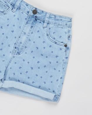 Free by Cotton On Camie Denim Shorts   Teens - Denim (Light Wash & Ditsy Floral)