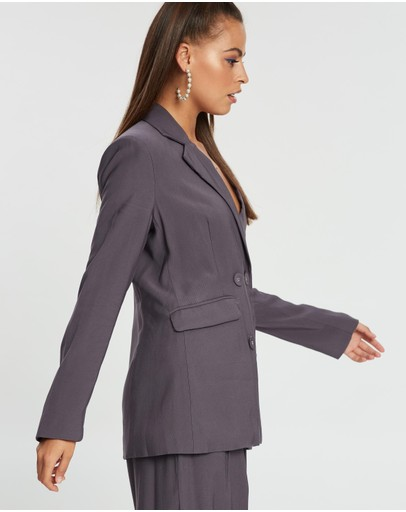 Dazie Show Me Love Double-breasted Blazer Charcoal