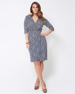 Embody Denim – Cleo Wrap Dress – Dresses (Navy & Ivory)