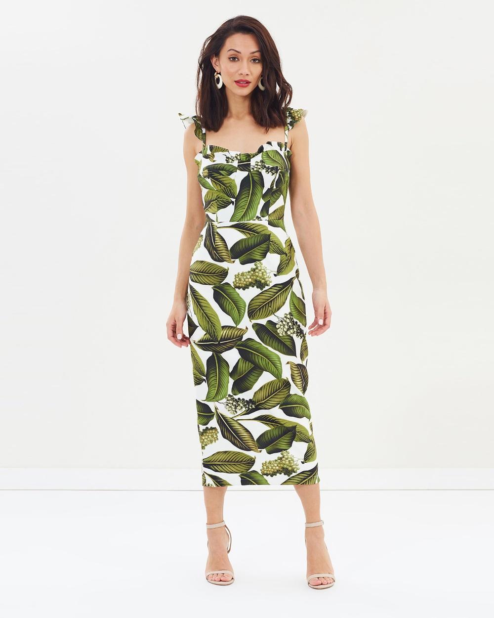 Pasduchas Vineyard Bustier Midi Dress Printed Dresses Leaf Vineyard Bustier Midi Dress