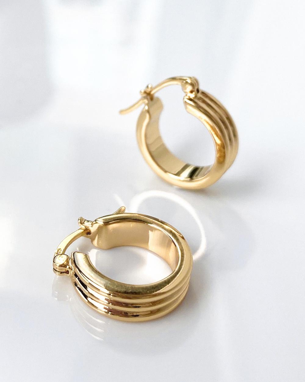 Wanderlust + Co Triple Band Gold 11mm Hinged Huggie Earrings Jewellery Gold
