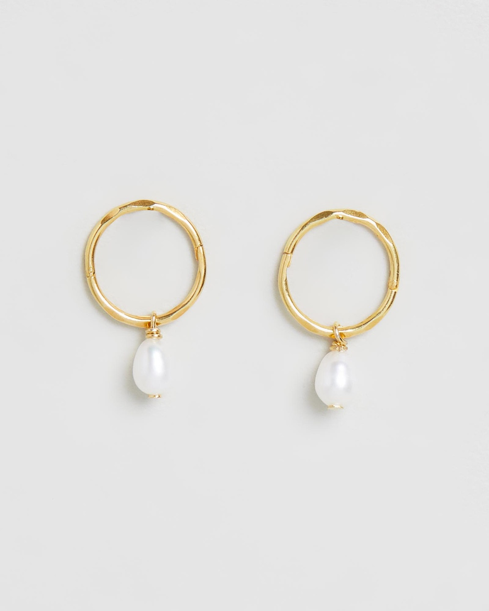SAINT VALENTINE Mini Pearl Hoops Jewellery Gold
