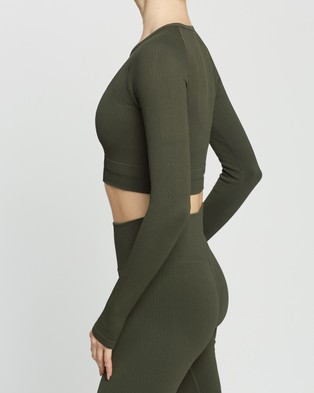 Aim'n - Ribbed Seamless Crop Long Sleeve Top T-Shirts (Khaki)