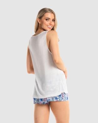 Deshabille Sleepwear - Iris Short PJ Set Two-piece sets (White / Blue)