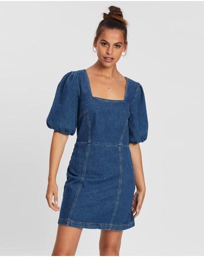 Bdg By Urban Outfitters Puff Sleeve Mini Dress Dark Denim