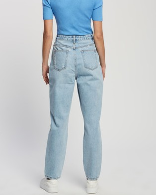 Atmos&Here Martha Recycled Cotton Blend Denim Mom Jeans - Mom Jeans (Light Blue)
