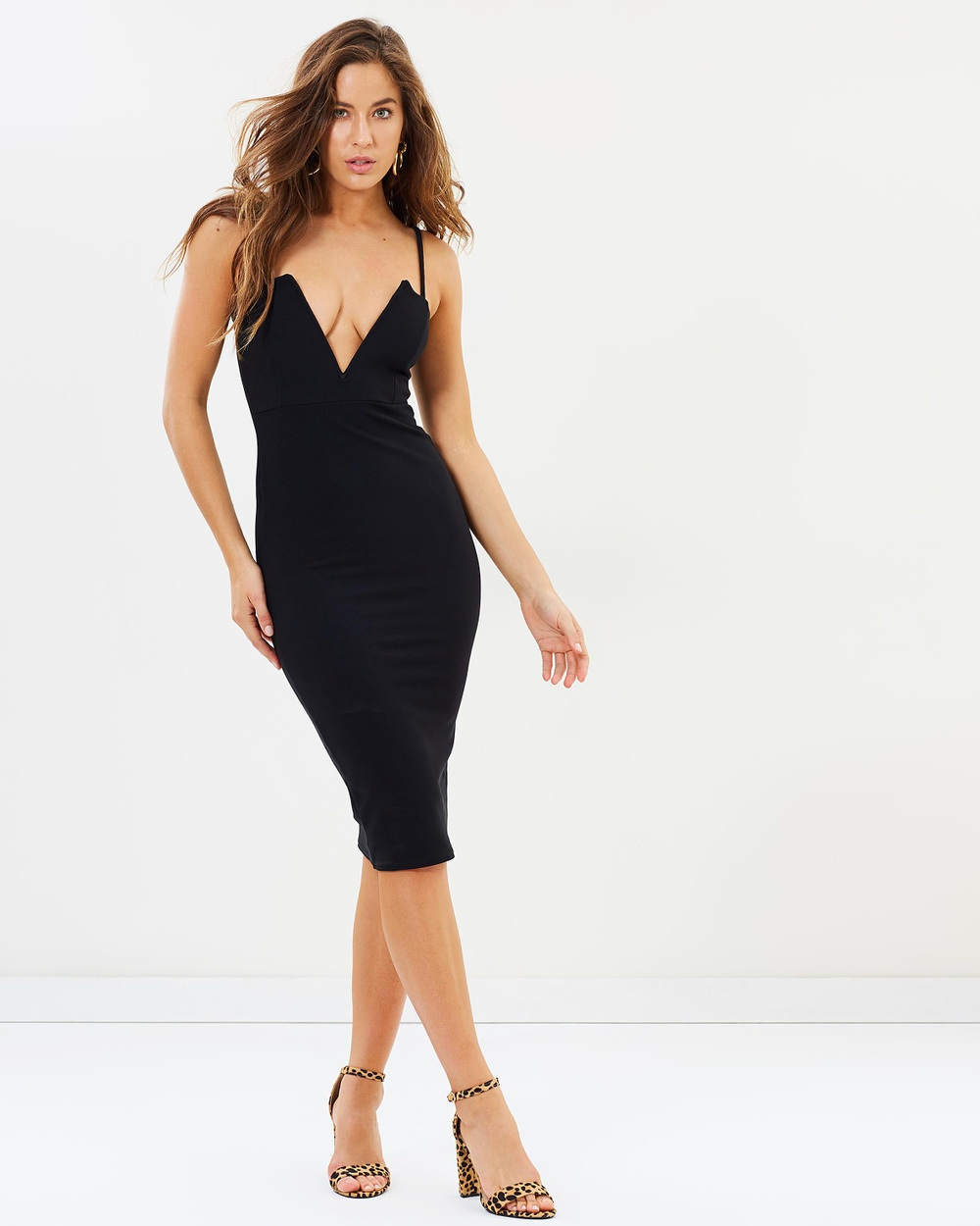 Missguided Strappy Ribbed Midi Dress Bodycon Dresses Black Strappy Ribbed Midi Dress