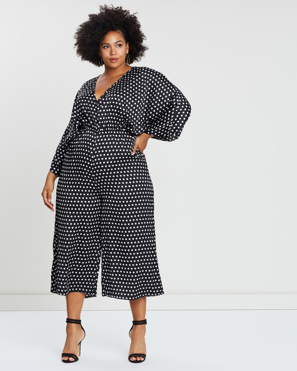 b0a11b779cd Kimono Sleeve Polka Dot Jumpsuit by Missguided Curve Online