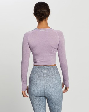 Doyoueven - Air Seamless Cropped Long Sleeve - Long Sleeve T-Shirts (Purple) Air Seamless Cropped Long Sleeve
