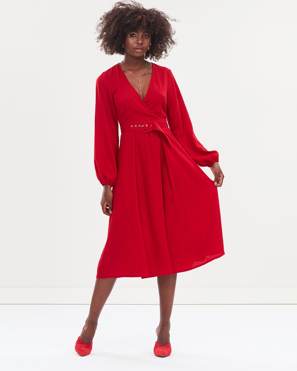 Atmos & Here ICONIC EXCLUSIVE Jessie Buckle Midi Dress Dresses Red ICONIC EXCLUSIVE Jessie Buckle Midi Dress