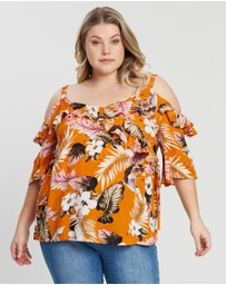 DP Curve - Tropical Crinkle Wrap Top