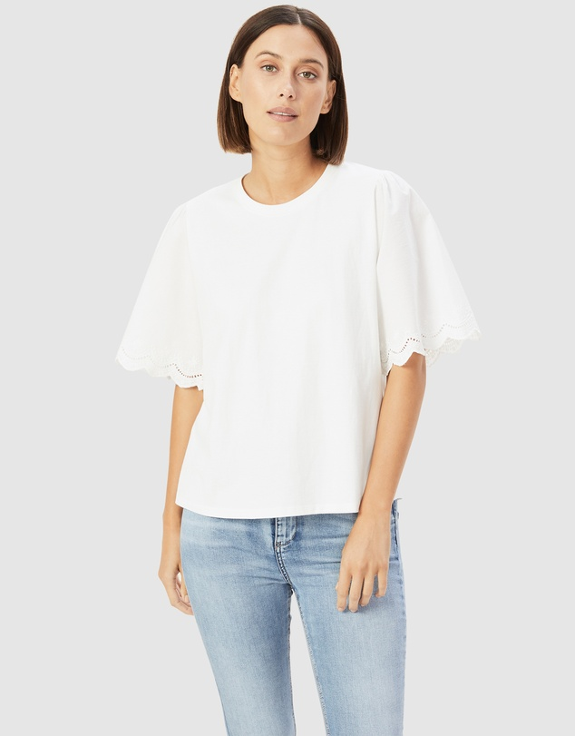 French Connection - Embroidered Sleeve T Shirt