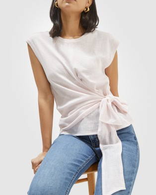 SABA Lucille Textured Wrap Top - Tops (Ice Pink )
