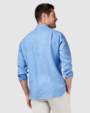 Australia Blazer Cooper Long Sleeve Linen Plain Shirt - Shirts & Polos (Blue)