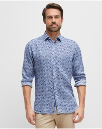 Blazer - Hugh Long Sleeve Linen Print Shirt