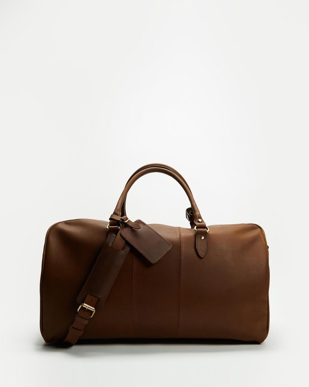Double Oak Mills Wilbur Leather Weekender Duffle Bags Brown Buff Waxy