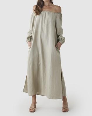 Amelius Tala Linen Maxi Dress - Dresses (Stone)