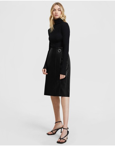 Aris Vegan Leather Pencil Skirt Black